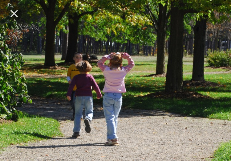 children walking in park